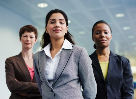 businesswomen standing strong